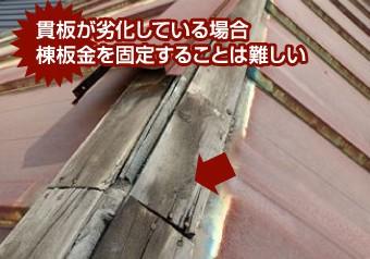 劣化した貫板