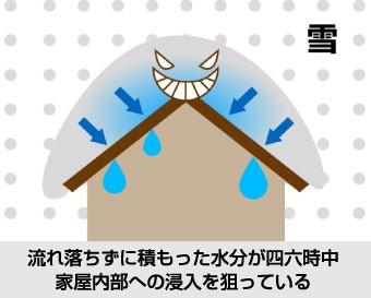 流れ落ちずに積もった水分が四六時中家屋内部への浸入を狙っている