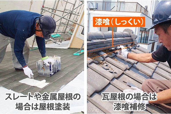 スレートや金属屋根は塗装で、瓦屋根は漆喰の補修でメンテナンスを行います