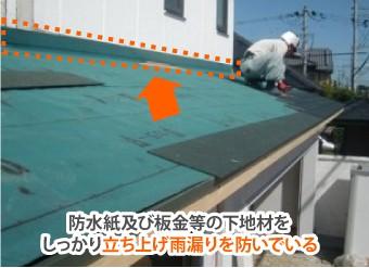 防水紙及び板金等の下地材をしっかり立ち上げ雨漏りを防いでいる