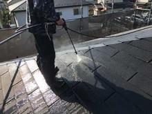 スレート屋根 高圧洗浄作業
