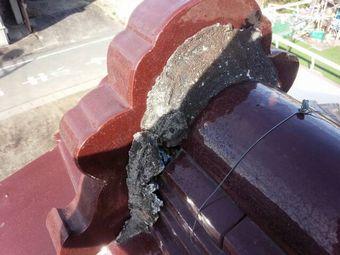 渋川市渋川で見積りで鬼瓦の漆喰部分の破損