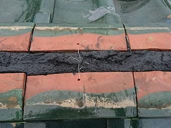 前橋市富士見町 のし瓦積み 針金固定
