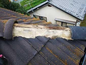 高崎市上中居町 モニエル瓦 台風被害