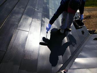 玉村町屋根塗装 上塗り