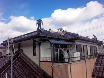 高崎市上中里町のI様邸瓦撤去状況写真