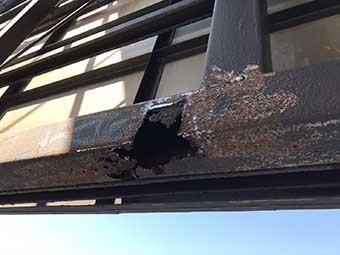 前橋市 屋上看板の鉄骨撤去