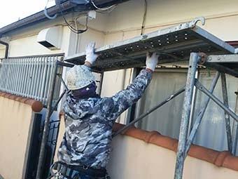 吉岡町 屋根、外壁塗装工事 仮設足場組立