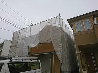 藤岡市 屋根外壁塗装 足場組立