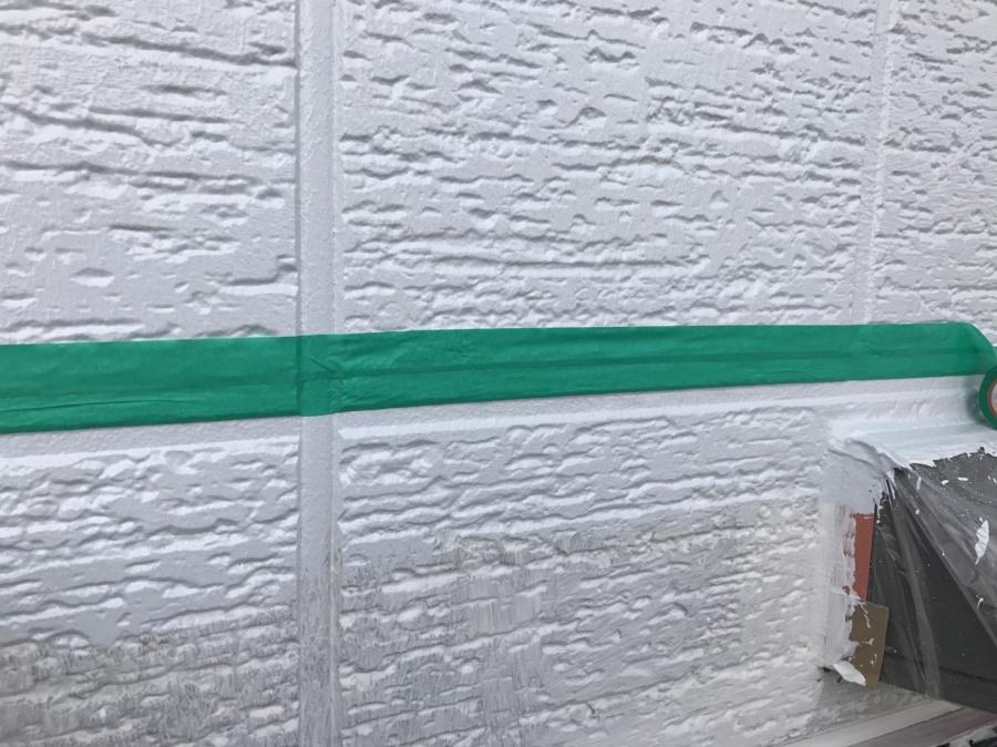 前橋市外壁ライン色分けテープ貼り