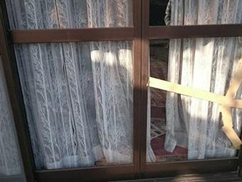 太田市飯田町ひびが入った窓ガラス