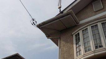 佐波郡玉村町白い出窓のあるお宅の正面2Fの雨樋