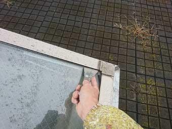 天窓雨漏り修理中