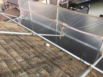 高崎市南陽台屋根洗浄はね防止ビニール設置