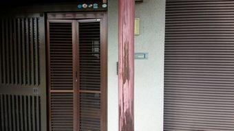 渋川市赤城玄関柱の色あせ
