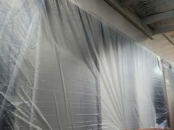 吉岡町 屋根、外壁塗装工事 ビニール養生