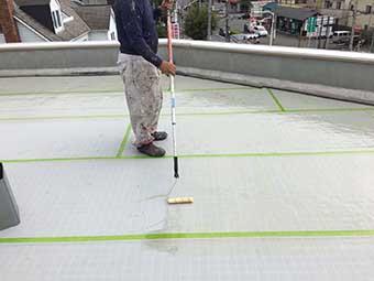 前橋市 屋上防水 プライマー塗布
