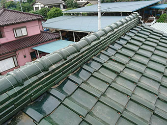 前橋市富士見町 棟瓦取り直し工事後