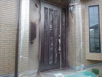 前橋市富士見町玄関ドア回りの養生