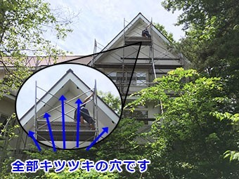 吾妻郡嬬恋村ペンション 軒天 キツツキの沢山の穴