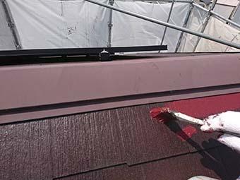 藤岡市 屋根塗装上塗り