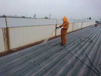 前橋市荒牧町B工場屋根洗浄