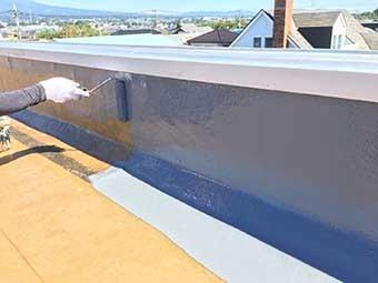 前橋市 屋上防水 立上りトップコート