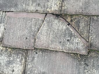 沼田市利根町K様カラーベスト材の割れ部分