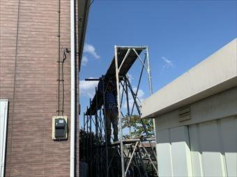玉村町屋根塗装 足場組み立て