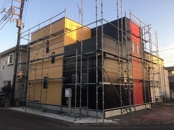 高崎市倉賀野町の外壁サイディングのお宅の完工後、足場解体前
