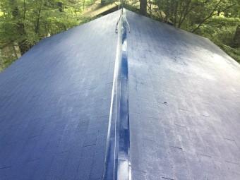 前橋市大屋根上塗り塗装1回目完了