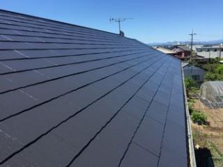 佐波郡玉村町ソーラーパネルのあるお宅の北側屋根の塗装完了