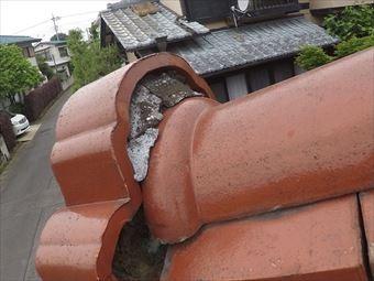 前橋市荒牧町鬼瓦の漆喰の劣化