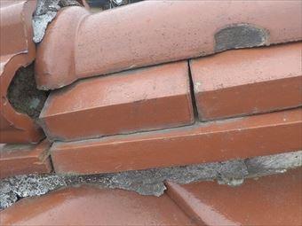前橋市荒牧町屋根漆喰調査劣化確認鬼瓦画像