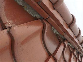 前橋市荒牧町棟瓦の漆喰の劣化①