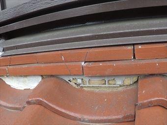 前橋市荒牧町棟瓦の漆喰の劣化③
