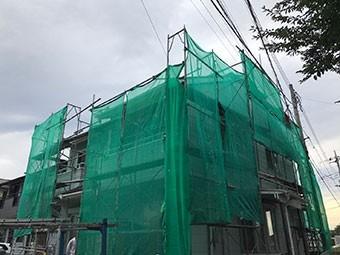 前橋市富士見町Y様邸仮設足場メッシュシート完成