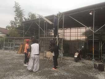 街の屋根やさん前橋店 足場組み立て練習