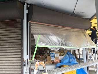八百屋さんのテント修理