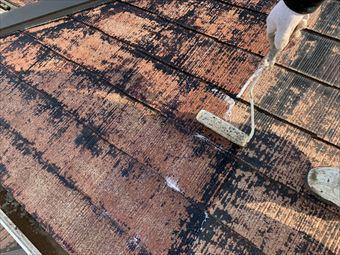 駒形町棟屋根塗装中