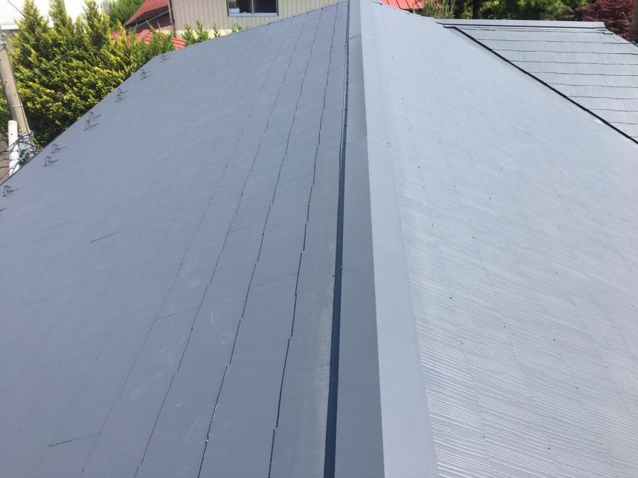 前橋市石倉町屋根上塗り1回目完成