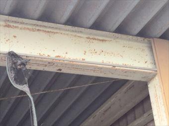 伊勢崎市市場町F様邸セッパン屋根の梁と柱のサビ